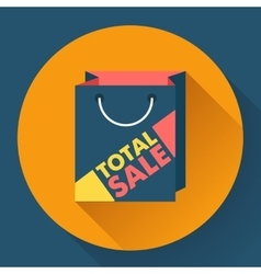 Total sale shopping bag flat style icon vector