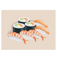 Sushi set with shrimp salmon and avocado vector