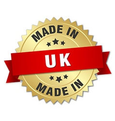 Made in uk gold badge with red ribbon vector