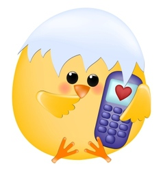 Chick with cellphone vector image