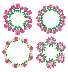 Garlands of roses and gerberas - flower set vector