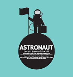 Astronaut standing with flag on the planet vector