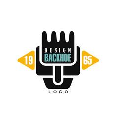 Backhoe logo design estd 1965 excavator vector