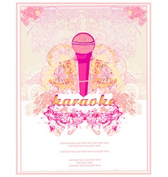 banner with microphone - karaoke party design vector image