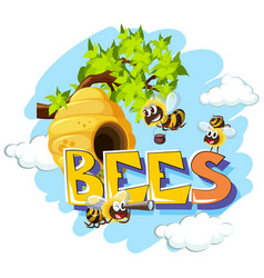 Bees flying around beehive vector