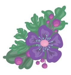 Bright color flower with leaves vector