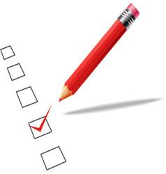 Checklist with pencil white backgroun vector image