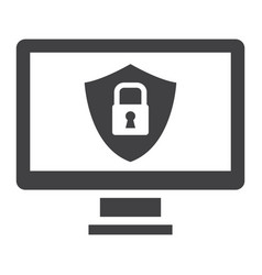 Computer security solid icon protection padlock vector