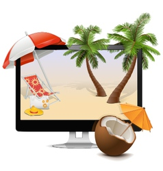 Computer with Tropical Resort vector image vector image