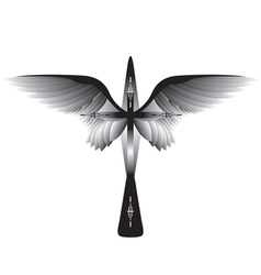 Cross with wings vector