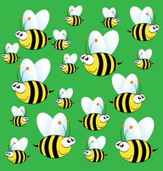 Cute bee pattern on green background vector
