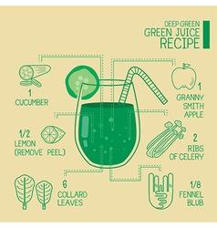 Deep green green juice recipes great detoxify vector image vector image