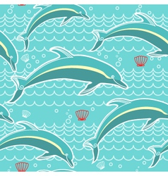 dolphins seamless pattern blue sea background vector image vector image
