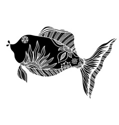 fish with floral elements vector image