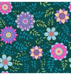 Floral pattern with leaves colorful vector