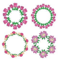 garlands of roses and gerberas - flower set vector image