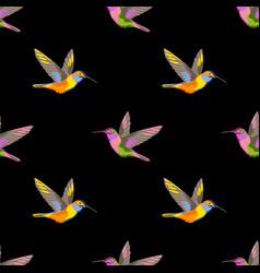 hummingbird embroidery seamless pattern vector image