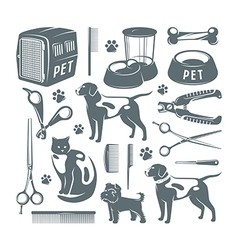 Icons set of pet care items vector image