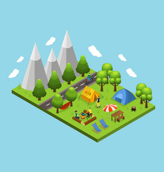 Isometric summer camping concept vector