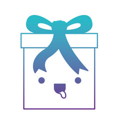 kawaii gift box icon with decorative ribbon in vector image