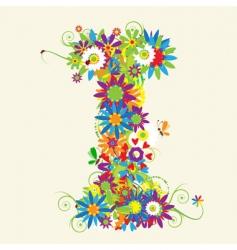 letter I floral design vector image vector image
