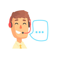 Male call center agent and speech bubble online vector