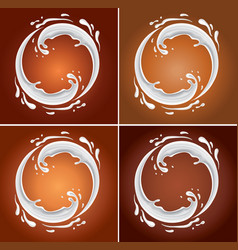 milk circle splash on chocolate background vector image vector image