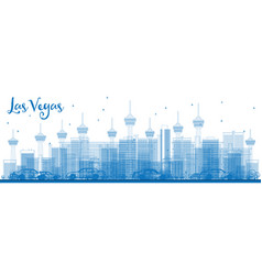 outline las vegas skyline with blue buildings vector image