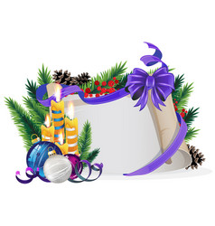 Paper scroll with purple bow candles and vector