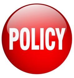 Policy red round gel isolated push button vector
