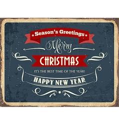 Retro metal sign Merry Chrismas vector image vector image