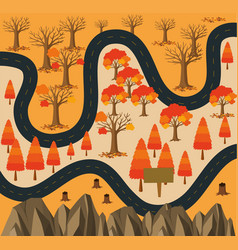 Road to the forest in fall season vector
