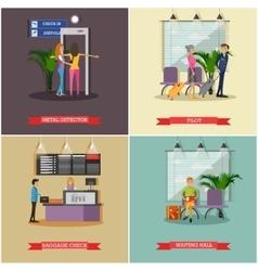 Set of airport concept design elements in vector