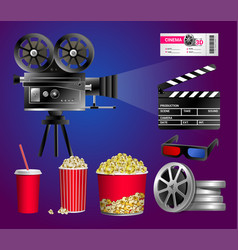Set of cinema objects - modern realistic vector