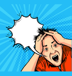 Shocked man panic horror stress concept vector