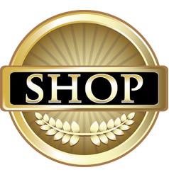 Shop gold icon vector