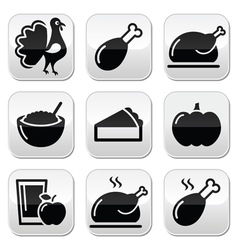 Thanksgiving Day food buttons set - turkey pumpki vector image vector image
