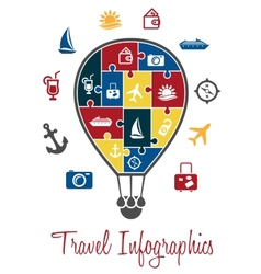 Travel infographics with a hot air balloon vector