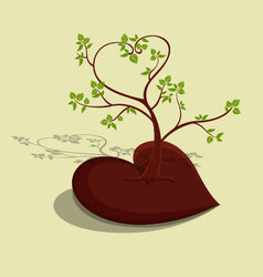 Tree heart with green leaves vector image