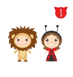 two happy cute kids characters Boy in lion costume vector image