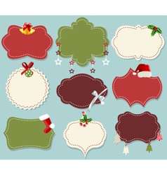 Vintage christmas label banner set vector image