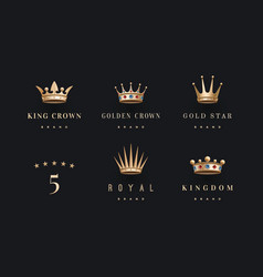 Set of royal gold crowns icon and logo vector