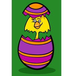 Chicken in easter egg cartoon vector
