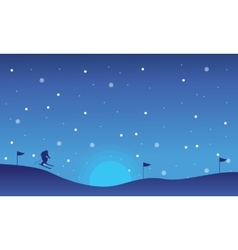 Landscape people skiing of silhouettes christmas vector