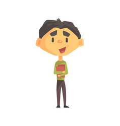 boy in green sweater holding books primary school vector image