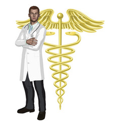 Doctor and caduceus symbol vector