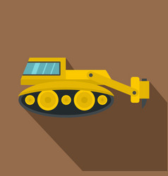 Excavator with hydraulic hammer icon flat style vector