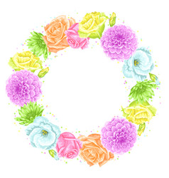 decorative frame with delicate flowers object for vector image