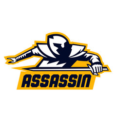 Assassin logo lettering crouching warrior with a vector