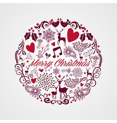 Merry Christmas circle shape full of elements vector image